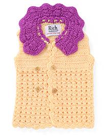 Rich Handknits Sleeveless Front Open Sweater - Yellow & Magenta