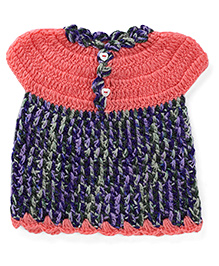 Rich Handknits Cap Sleeves Woolen Dress - Coral Navy Green