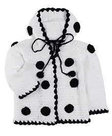 Rich Handknits Full Sleeves Hooded Sweater - Black And White