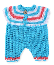 Rich Handknits Winter Wear Romper With Cap - Blue Red White