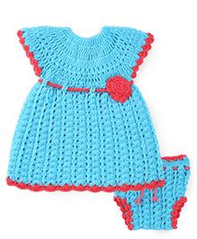 Rich Handknits Cap Sleeves Woolen Dress With Floral Motif - Teal Blue