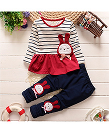 Funky Baby Cutie Bun Top And Legging Set - Red