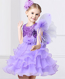 Funky Baby Sleeveless A Line Layered Party Dress With Bow Applique - Lavender