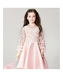 Funky Baby Lace Petals Party Frock - Baby Pink