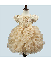 Funky Baby Short Sleeves Ruffles Party Dress Bow Applique - Beige