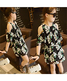 Teddy Guppies Cold Shoulder Floral Dress - Black And White