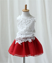 Teddy Guppies Sleeveless Lace Top And Skirt - White & Red