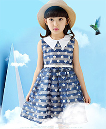 Teddy Guppies Sleeveless Party Dress White Flowers On Blue Base