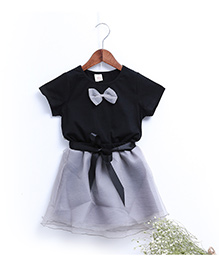 Teddy Guppies Party Wear Top and Skirt With Belt - Black Grey