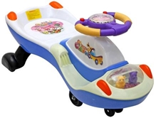 Fab N Funky Swing Car - Blue N White - Carry Capacity/Weight Limit Up To 35 KG Hassle Free And Economic