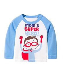 Teddy Guppies Full Sleeves T-Shirt Super Hero Print - White And Blue