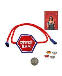Little India Saccha Bhai Quote Hexagon Rakhi - Red
