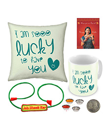 Little India Printed Cushion And Mug With Rakhi - Off White And Green