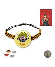 Little India Modern Design Gussel Bhai Quote Cute Badge Rakhi - Yellow