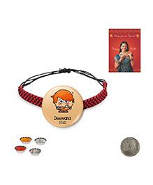 Little India Modern Design Deewana Bhai Quote Cute Badge Rakhi - Peach
