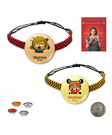Little India Modern Design Badge Rakhi Peach & Yellow - Pack Of 2