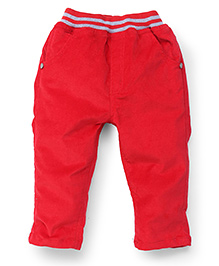 Little Kangaroos Full Length Solid Color Elasticated Pant - Red