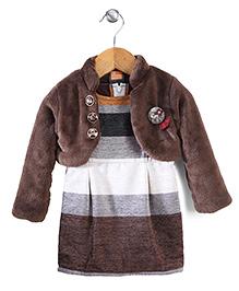 Little Kangaroos Midi Dress With Shrug - Brown