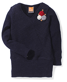 Little Kangaroos V Neck Sweater Top - Navy