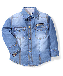 Little Kangaroos Full Sleeves Denim Shirt  - Light Blue