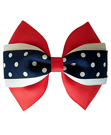 Keira's Pretties Polka Dots Party Bow Alligator Clip - Red, Navy White