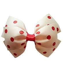Keira's Pretties Polka Dots Bow Hairband - Peach And Red