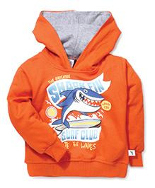 Cucumber Full Sleeves Hooded Sweatshirt Shark Print - Dark Orange