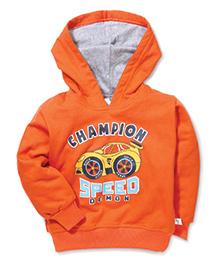 Cucumber Full Sleeves Hooded Sweatshirt Champion Print - Orange