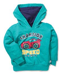 Cucumber Full Sleeves Hooded Sweatshirt Champion Print - Sea Green