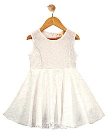 Budding Bees Sleeveless Lace Party Dress - White