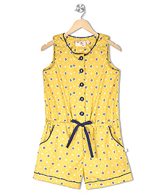 Budding Bees Sleeveless Jumpsuit Floral Print - Yellow
