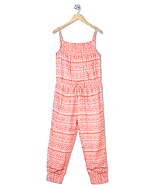 Budding Bees Singlet Printed Jumpsuit - Peach