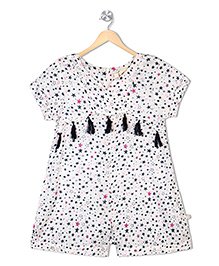 Budding Bees Short Sleeves Jumpsuit Star Print - White Blue
