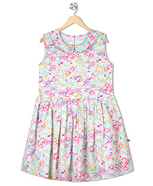Budding Bees Sleeveless Fit & Flare Dress Floral Print - Off White Green