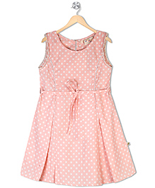 Budding Bees Sleeveless Dotted Frock - Peach White