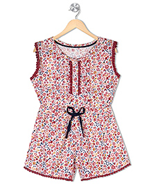 Budding Bees Sleeveless Jumpsuit Flower Print - Red