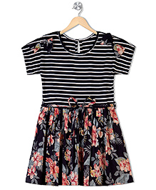 Budding Bees Short Sleeves Frock Bow Appliques - Black