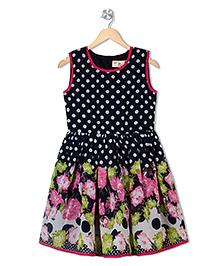 Budding Bees Sleeveless Dotted Frock Floral Print - Blue