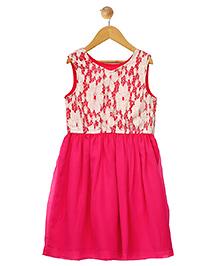 Budding Bees Sleeveless Frock Lace Pattern - Pink White