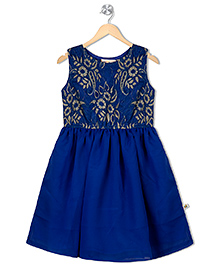 Budding Bees Sleeveless Party Dress Floral Design - Blue