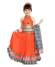 Little Pockets Store Crush Lehenga Set - Orange