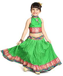 Little Pockets Store Crush Lehenga Set - Green
