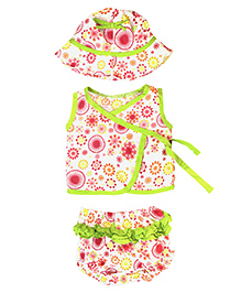Little Pockets Store Little Baby Combo Set  With Cap Top & Diaper Cover - Green