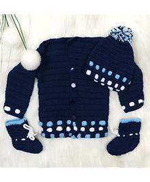 The Original Knit Set Of Sweater Cap & Booties - Dark Blue