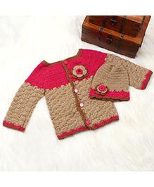 The Original Knit Sweater & Cap Set - Beige & Pink