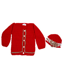 The Original Knit Sweater & Cap Set - Red