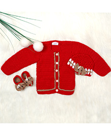 The Original Knit Set Of 3 Sweater Booties & Cap - Red