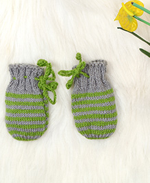 The Original Knit Striped Mittens - Grey & Green