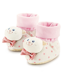 Trudi Rattle Booties Kitty Design - Pink & Cream