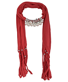 Home Union Fashionable Pendant  Jewellery Scarf - Maroon